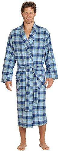 EVERDREAM Mens Flannel Robe, Shawl Collar Lightweight 100% Cotton Bathrobe, Size Small/Medium Blue