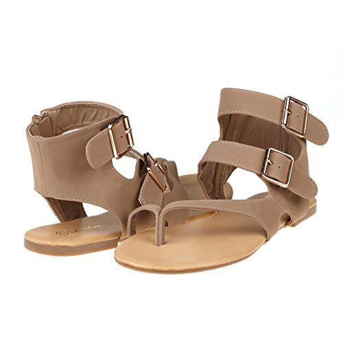 DREAM PAIRS TRENTCH Women Fashion Gladiator Double Buckle Toe Ring Flat Ankle Summer Sandals Khaki Size 8.5