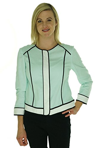 Jones New York Womens Linen Blend Contrast Trim Blazer Green 12