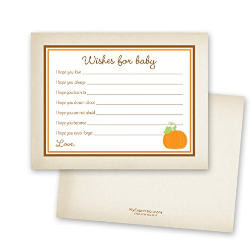 48 Cnt Rustic Style Orange Pumpkin Baby Wishes Card]()