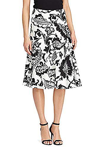 (Lauren Ralph Lauren Paisley-Print Crepe Skirt PEARLBLACK, 2)