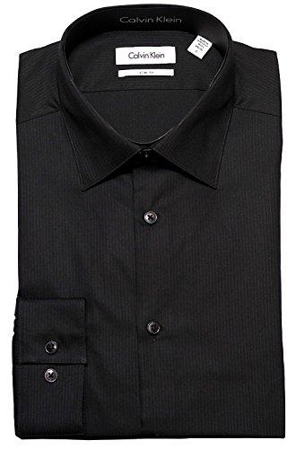 Calvin Klein Tone/Tone Stripe Slim Fit 100% Cotton Solid Dress Shirt - 33T046 (Black, 15.5