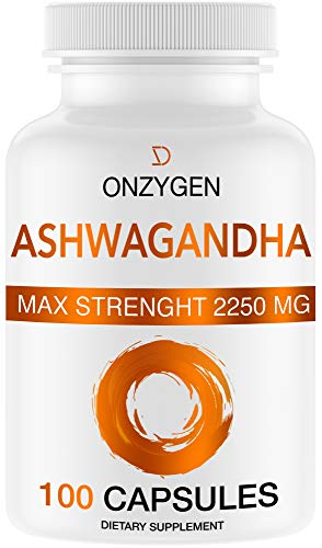 Ashwagandha - 100 Capsules 2250MG - Organic Ashwagandha Root Powder Extract - Anxiety Relief -Stress Relief - Mood Enhancer - Cortisol & Adrenal Support - Adrenal Fatigue - Thyroid Support Supplements