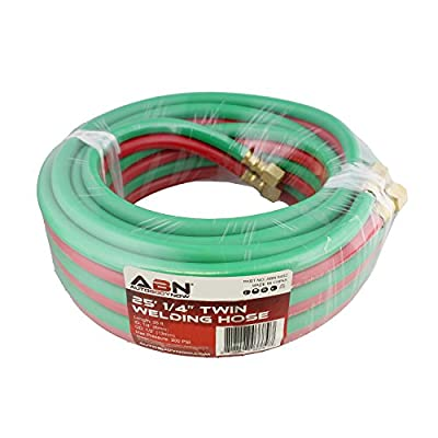 ABN Oxygen Acetylene Hose 1/4 Inch B Fittings Twin Welding Hose Oxy Acetylene Torch Hose Cutting Torch Hoses, 25 Foot: Automotive