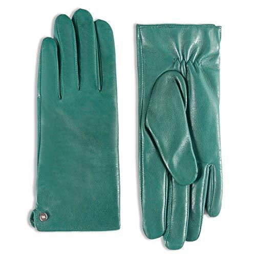 Green Lambskin button Dress Leather Gloves