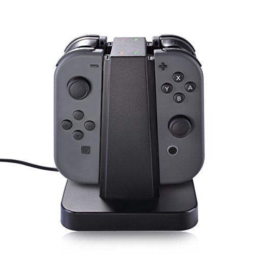 Nintendo Switch Joy Con Charger Dock, Sunix 4 in 1 Charging Stand with LED indication for Nintendo Switch Joy -