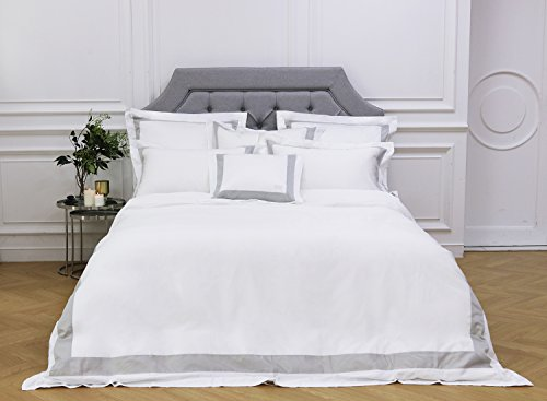 Crown Goose Luxurious Duvet Cover Set, Premium 100% Cotton 100S (500 TC) - Sophisticated, Clean Design, Seen In Hotel Suites, Incl 1 Cover & 2 Pillow Cases - Jardin Collection (Gray, King) ()