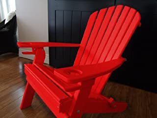product image for Poly Recycled Plastic Adirondack Chair with One Cupholder-Bright Red