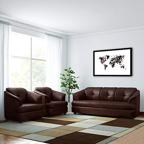 B Bharat Lifestyle 3+1+1 Seater Gayana Fabric and Wood Sofa Set  Brown