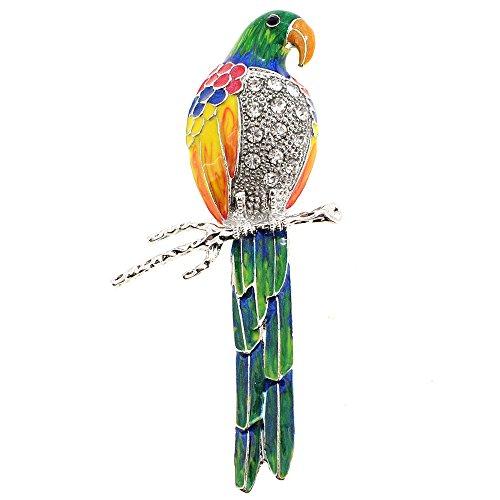 Parrot Pin Brooch - Fantasyard Multicolor Parrot Crystal Bird Pin Brooch