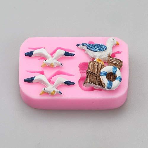 HITSAN INCOPRORATION Pinkie sea style Seagull lighthouse fish sailboat silicone mold fondant cake molds chocolate mould custom baking decoration 1