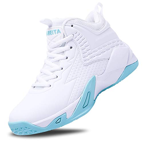 BEITA Girls Basketball Shoes Boys High Tops Sneakers Athletic Trainers Shoes for Big Kids, Children, Teens, Boys, Professional Anti-Skid & Durable for Indoors & Outdoors White
