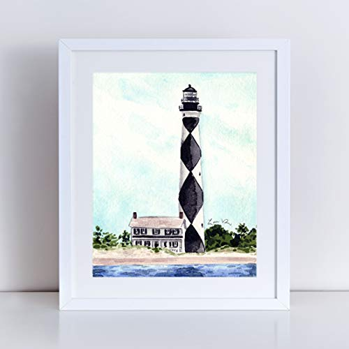 Cape Lookout Lighthouse Art Print Watercolor Painting Wall Home Decor Outer Banks North Carolina Coast Light House Inspirational Nautical Beach House Coastal Southern Style Canvas ()