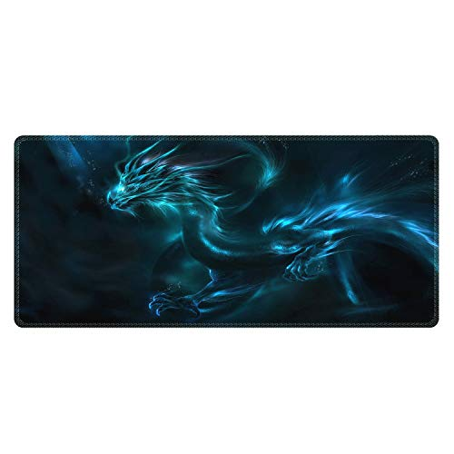 Meffort Inc Extra Large Extended Gaming Desk Mat 34.75 x 15.25 inch Mouse Pad - Blue Dragon -