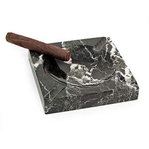 - Executive Solid Marble Square Cigar Ashtray (Zebra Black)