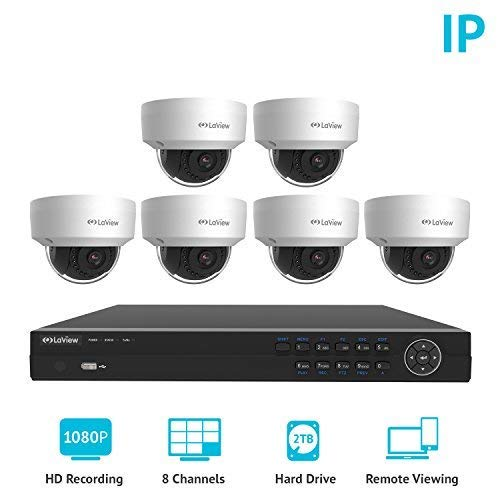 LaView 8 Channel Full HD 1080P Business and Home Security Camera System 6X True 2MP PoE Weatherproof Dome IP Cameras with HD 2TB Surveillance NVR by LaView