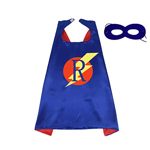 RANAVY Superhero Capes for Kids/Adult with Masks-Flash Dress Up Birthday Party Favors 26 Letters 10 Numbers Initial Blue/Red