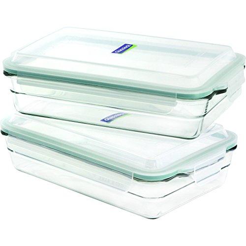 Glasslock 4-Piece Oven Safe Bakeware Rectangle Set, 6.5 x...