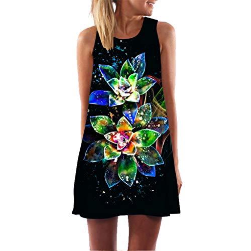 EOWEO Dress for Women Elegant,2019d Women Summer Sleveless Boho Print Casual Beach Vintage Fashion Short Mini Dress(Medium,Black) by EOWEO (Image #5)