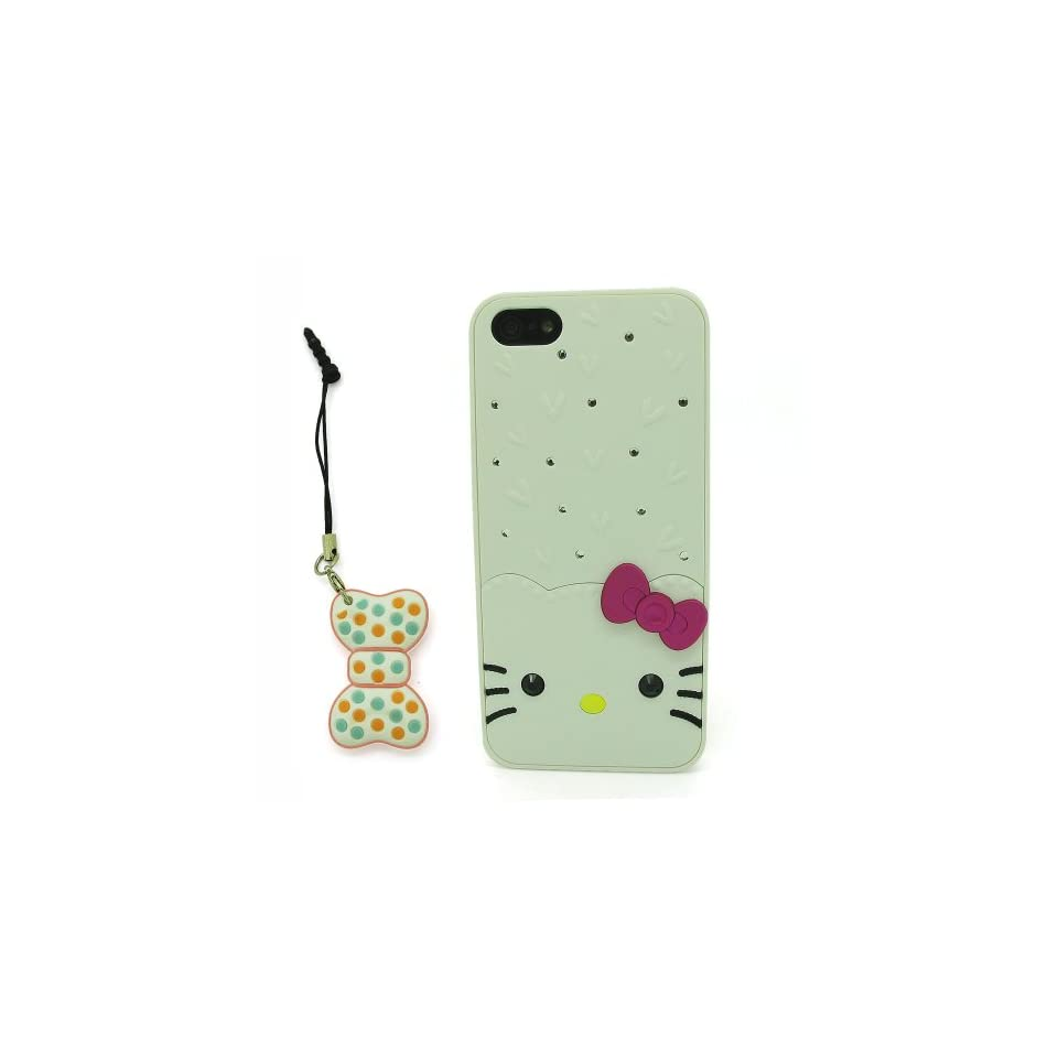 DD(TM) White Cartoon Cute Hello Kitty Hard Plastic Case Shell Protective Cover for Apple iPhone 4 4G 4S 4th Generation with 3D Silicone Bow knot Stylus Touch Pen