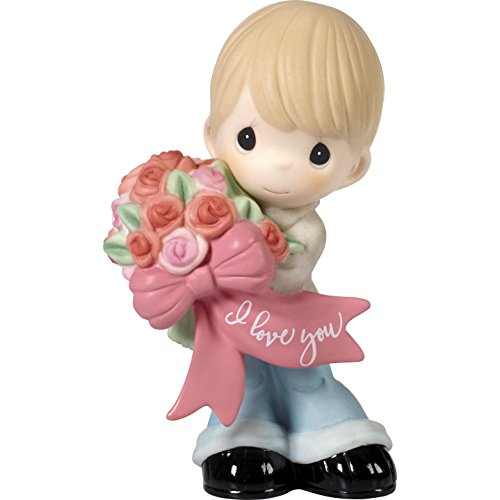 Precious Moments 172004 I Love You Boy with Flower Bouquet Bisque Porcelain Figurine, One Size, Multi ()