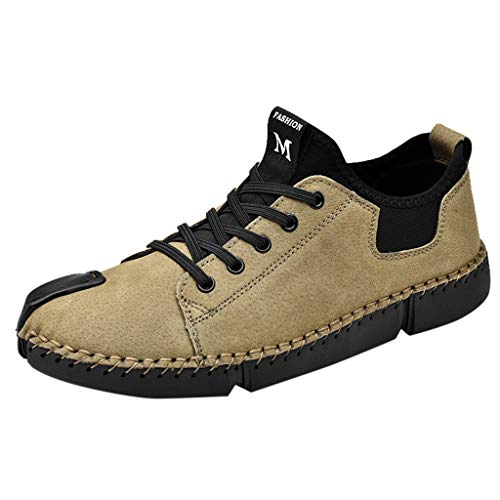 JUSTWIN Men Casual Leather Casual Shoes Outdoor Lazy Shoes British Style Tool Men Shoes Khaki