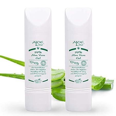 Bio Aloe Vera GEL 99% 2x50ml | Dermatologisch getestet mit SEHR GUT | ohne Duft- & Farbstoffe - ohne Parabene - ohne Mineralö