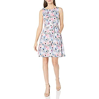 Anne Klein Women's Fit and Flare Self Belted Printed Cotton Sateen Dress at Women's Clothing store