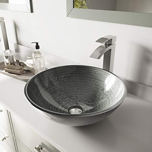 - VIGO Simply Silver Glass Vessel Bathroom Sink and Duris Vessel Faucet with Pop Up, Brushed Nickel