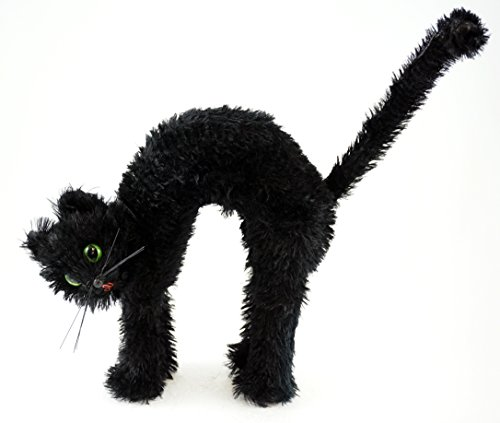 Arched Hairy Black Cat Decorative Halloween Figurine
