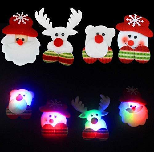 Gwill 8 Pack Christmas LED Flashing Light up Brooch Snowman Santa Claus Badges Pins Xmas Gift