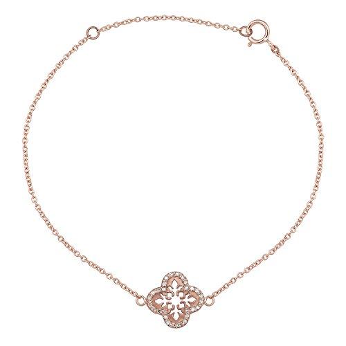 Instagems 10k Rose Gold Open Scroll 1/6ct Diamond Pendant Bracelet
