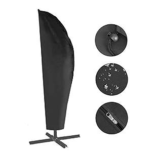 Herefun Funda Protectora para Parasol Impermeable Funda, 265cm Impermeable contra Rayos UV,420D Cierre de Cremallera Recubrimiento Protector Solar – Negro (265×40/70/50cm)