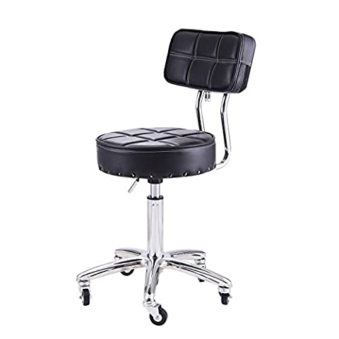 RFIVER Ergonomic PU Leather Adjustable Rolling Office Work Stool Chair Swivel Home Desk Chairs with Backrest and Chrome Metal Base in Black - Chair Chrome Base