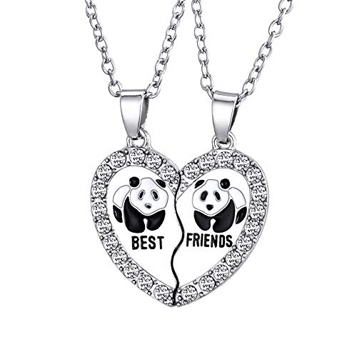 HooAMI Best Friends Necklaces Rhinestone Panda Animal Split Heart Pendant BFF Necklace 2pcs