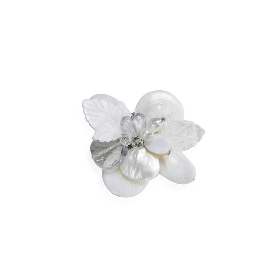AeraVida Nature's Charm Carved Mother of Pearl and Cultured Freshwater Pearls Pin or Brooch