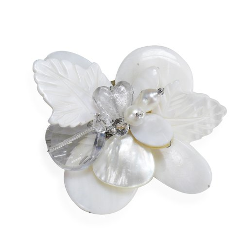 Nature's Charm Carved Mother of Pearl and Cultured Freshwater Pearls Pin or Brooch