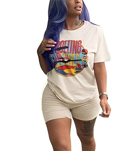 - NRTHYE Women Casual 2 Piece Outfits Rompers Short Sleeve Round Neck Cartoon Printed T-Shirts and Bodycon Short Pants Set