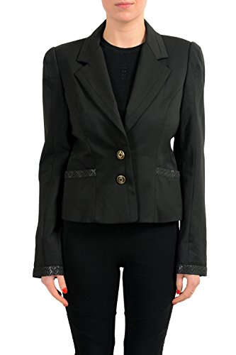 Just Cavalli Wool Black Cropped Two Button Women's Blazer US L IT 44