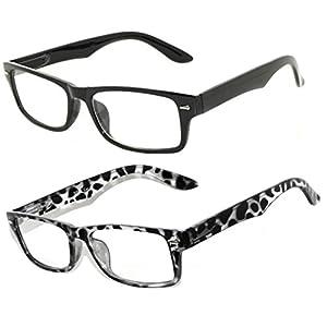 2 Pairs Retro Style Narrow Rectangular Clear Lens Eyeglasses - Black & Leopard