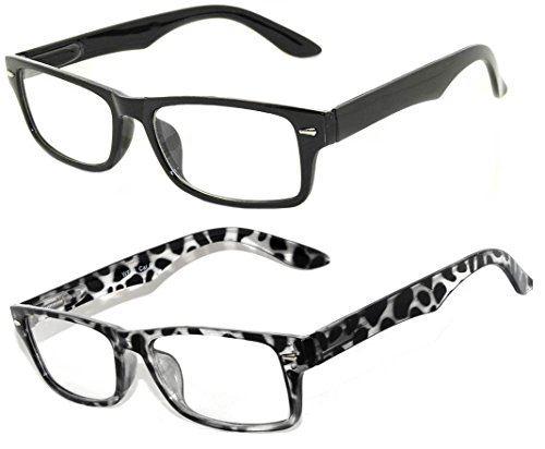 2 Pairs Retro Style Narrow Rectangular Clear Lens Eyeglasses - Black & - Eyeglasses Non Prescription