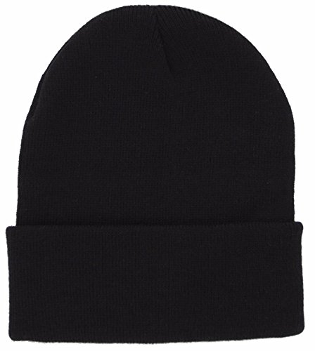 DealStock Plain Knit Cap Cold Winter Cuff Beanie (40+ Multi Color Available) (Black) ()