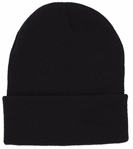 (DealStock Plain Knit Cap Cold Winter Cuff Beanie (40+ Multi Color Available) (Black))