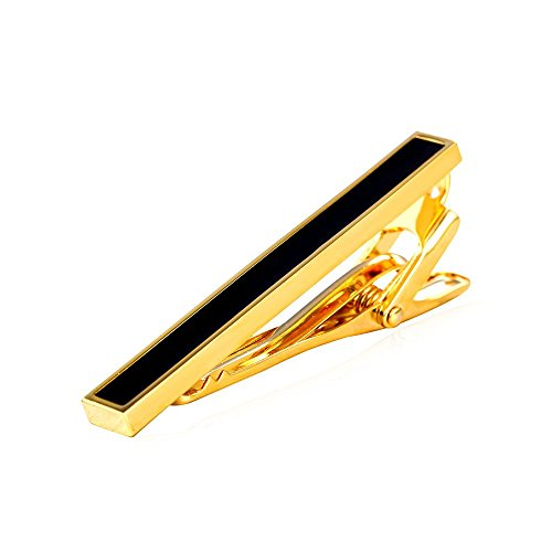 Men Tie Clips 18K Gold Plated 2 Inches Long Wedding Business Tie Bar by U7