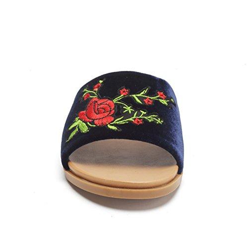 Cior Femmes Mode Rose Floral Brodé Patch Slip Sur Flip Flop Pantoufles Sandales Plates Marine