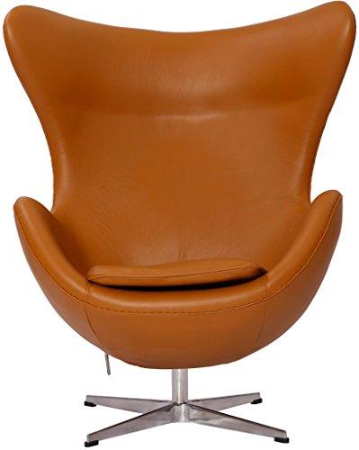 MLF Arne Jacobsen Egg Chair (5 Colors). 100% Imported Italian Leather & Hand Sewing. High Density Foam. Swivel, 4 Star Satin Polished Aluminum Base. Strong Fiberglass Inner Shell.(Light ()