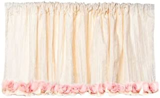 """product image for Glenna Jean Victoria Valance, Ivory Crinkle with Roses, 96"""" x 21"""""""