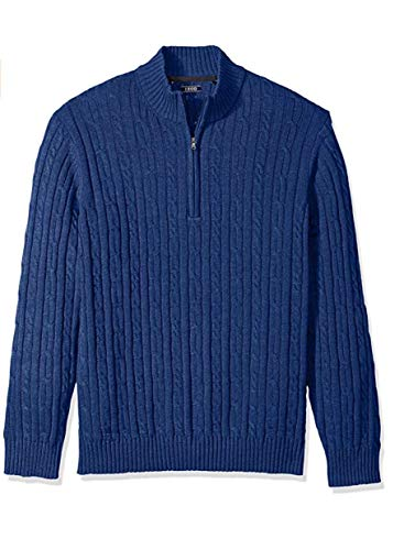 IZOD Men's Big Cable Solid 1/4 Zip Sweater, Estate, 2X-Large Tall (Izod Cable Sweater)