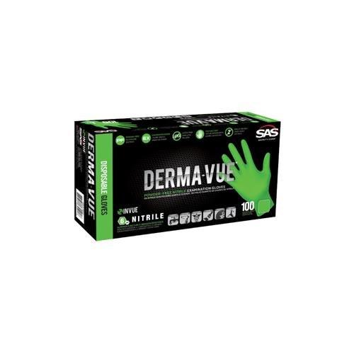 SAS Safety 66550 Derma-VUE Powder-Free Exam Grade 6 Mil Nitrile Gloves, Small, Neon Green by SAS Safety