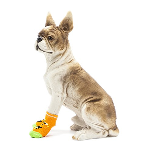 Autunno Calza Calze S Piedi Per Calzino Orange D'usura A Shoes Inverno Dog Animato Color Piede Cani Set sporco 8pcs Cartone Size Zucca 4size Anti Cotton Arancione Pet Antiscivolo afrqCa